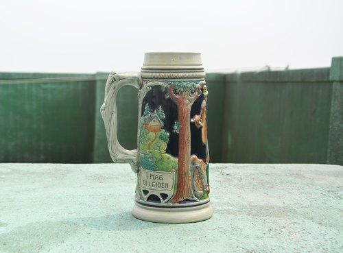 德國巴伐利亞 早期彩繪陶瓷大啤酒杯