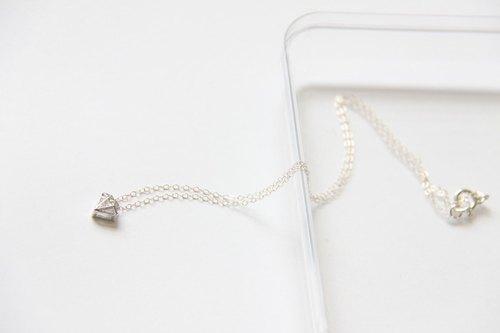 鑽+鑽 項鍊 (銀) / Silver Diamond shape charm with cubic Zirconia silver chain pendant