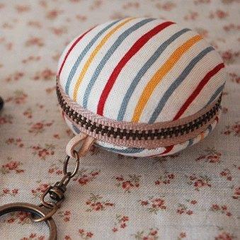 彩色條紋‧馬卡龍化妝鏡鑰匙圈