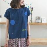 深藍寬寬藍色泡泡、星球、綠山削肩t-shirt/