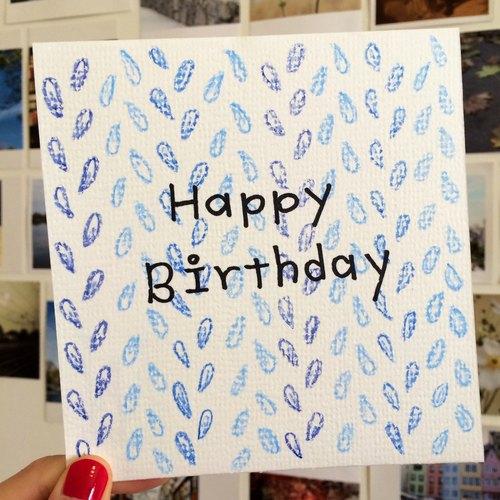 手绘卡片.34—蓝色羽毛生日卡