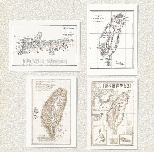 台湾老地图c 明信片组(4入)