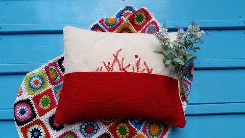 北欧手工绣花花图案靠枕/抱枕