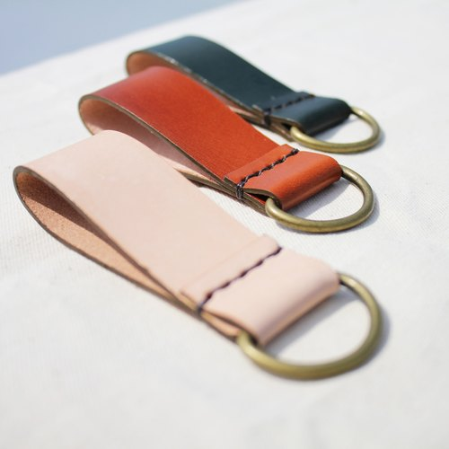 三皮色。鑰匙圈|原色、綠色、橘色(免費客製化英文刻字)