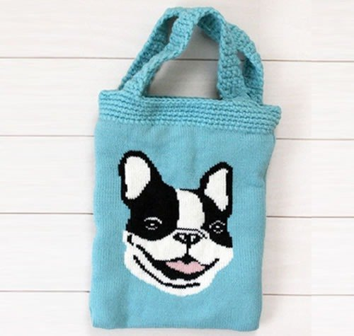 手工毛线编织动物系列手提包/散步溜狗包/小托特包
