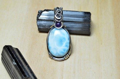 拉利玛设计925银坠 金属线/925银线/绕线/手工/饰品/水晶/天然石