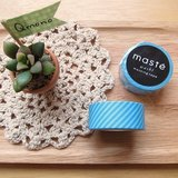 maste Masking Tape 和紙膠帶 Basic 明色系【藍色斜紋 (MST-MKT02-BL)】