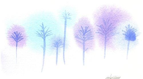 「疗愈系树林系列1-48」水彩手绘限量版明信片/贺卡