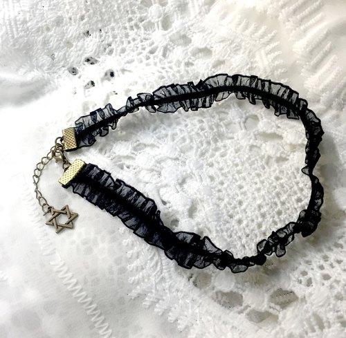 △ Choker 原宿系-六芒星蕾絲黑色細頸鍊 頸圈項鍊