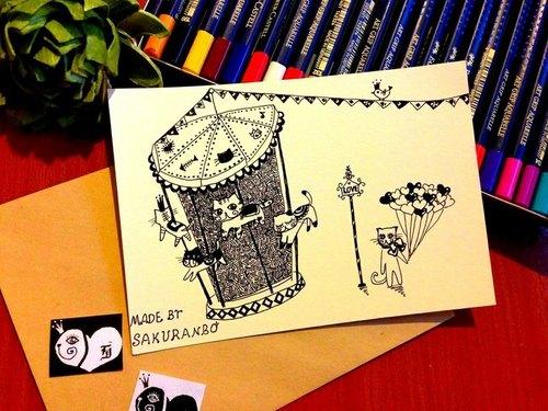 儿童手绘童话创意明信片