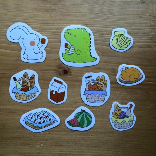 《艺之鱼》一起野餐去 插画贴纸 10张组 --d0003