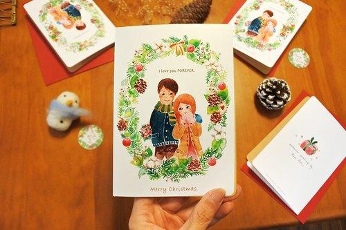 情侶聖誕卡I love you Forever/聖誕節/聖誕圈/聖誕卡片