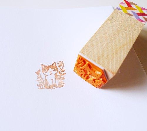 印章-花丛黑白猫手帐章