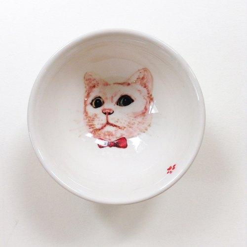 手绘小茶杯-小白猫