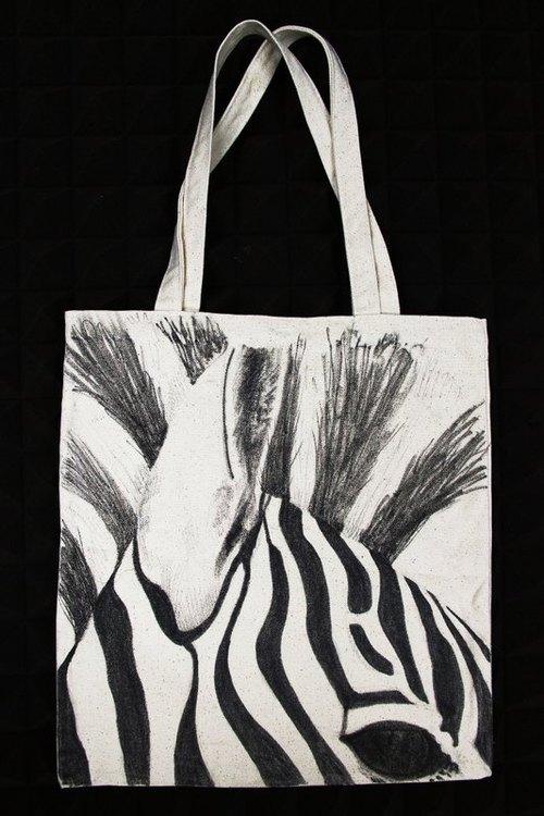 全手工订制 手绘插画 纯麻布 环保袋 托特包 黑白 斑马 tote bag