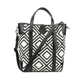 Leather-Trimmed Geometry Print Canvas Tote Bag