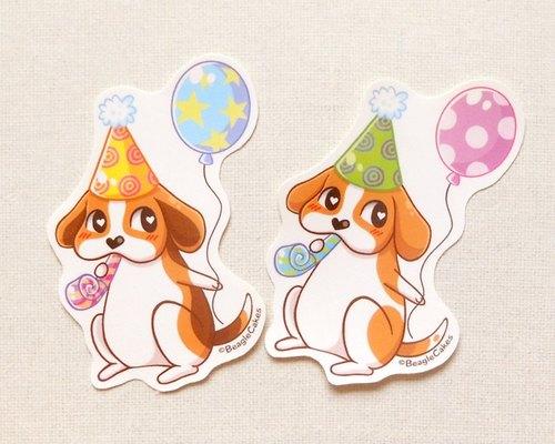 米格鲁贴纸2入 - 可爱宠物贴纸 - 狗贴纸 - 手绘贴纸