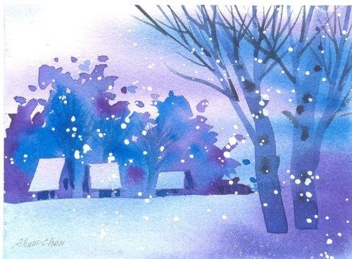 「疗愈系树林系列1-115」水彩手绘限量版明信片/圣诞