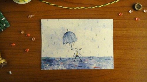 :: 薛裊兒:: 小雨人 Rainy Day  明信片/卡片