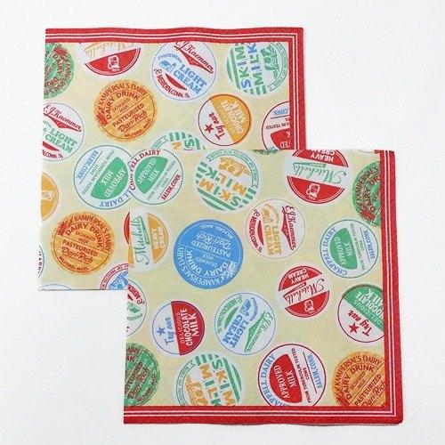 Aimez le style 蝶古巴特餐巾紙 2入【牛奶瓶蓋-紅(00095)】