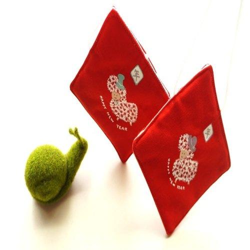 手绘春联布红包羊小孩过新年(附挂绳)