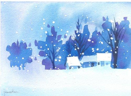 """圣诞卡片""""疗愈系树林系列1-111""""水彩手绘限量版明信片/贺卡"""