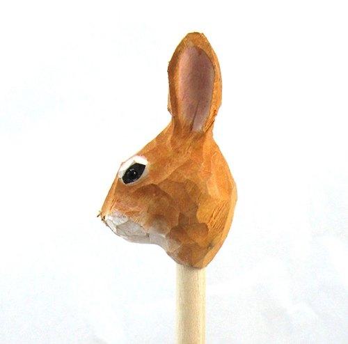 英国复古手工木头雕刻铅笔(兔子造型)---免运
