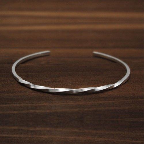 手環 手鐲 方扭手環 純銀手環 C型手環-64DESIGN