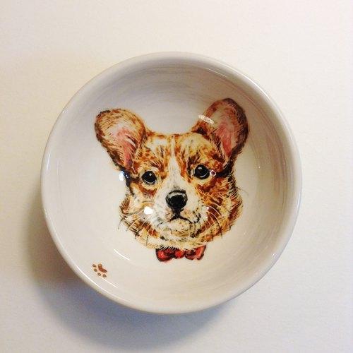 手绘小茶杯-小柯基犬