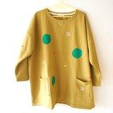 兩個口袋刷毛厚厚長袖-芥末黃色 / 泡泡、香蕉、蘋果/星球隕石 / 翻山越嶺