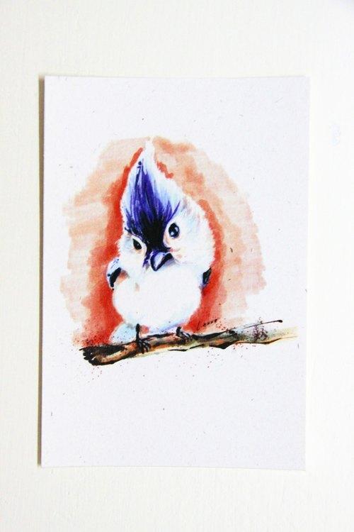 《天然鹿的微笑》鳥兒吱吱喳喳明信片