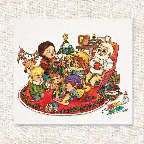 手绘水彩圣诞插画卡