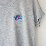 ✭hello my world刺繡款圓領寬寬tshirt(灰色)