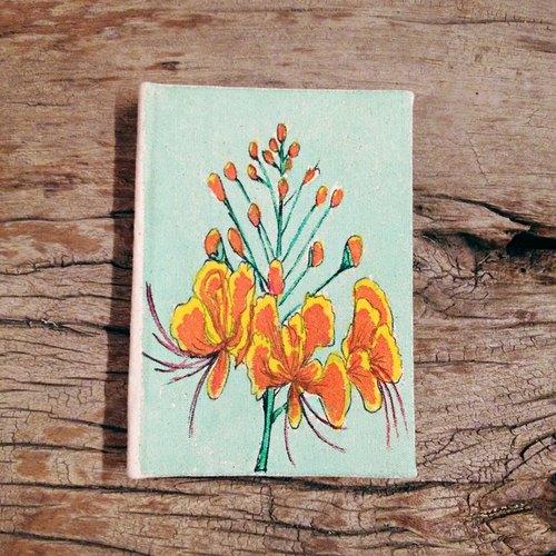西印度手绘帆布凤凰花环保手工笔记本