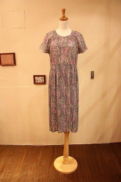 中古欧洲拜占庭花纹百褶古董洋装