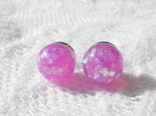 Anny's workshop手作押花飾品,亮麗粉紅耳環