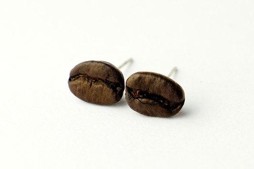 咖啡豆耳環  ∞ 耳釘 香濃咖啡豆 星巴克咖啡豆 聖誕禮物 交換禮物