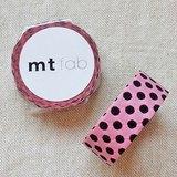 mt 和紙膠帶 fab 植絨系列【水玉款 粉紅+咖啡(MTFL1P06)】