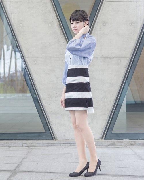 黑白條紋_高腰A字裙