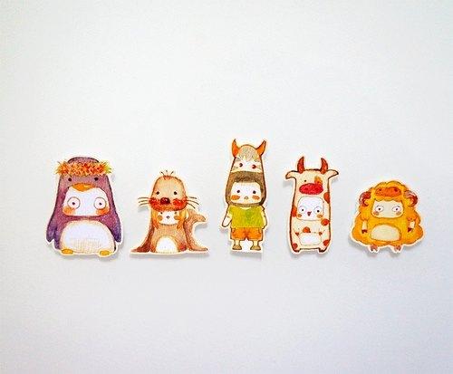 创意动物卡通可爱手帐手绘水彩设计贴纸
