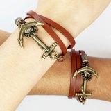 古銅船錨扣環皮繩(情人節款式)-兩條一組