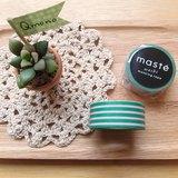 maste Masking Tape 和紙膠帶 Basic 明色系【綠粉條紋 (MST-MKT02-GN)】