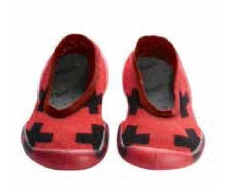 2015 NUNUNU+collegien 紅底十字架平口襪鞋(小孩款)