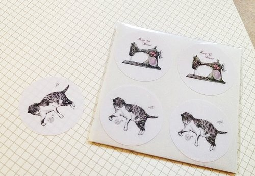 可爱猫咪与裁缝机贴纸组