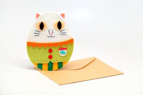 【布卡】雪白猫咪手工不织布卡片