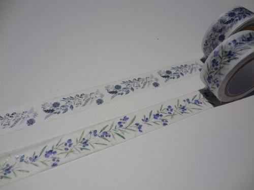 手绘水彩纸胶带~蓝blue系列一组2款