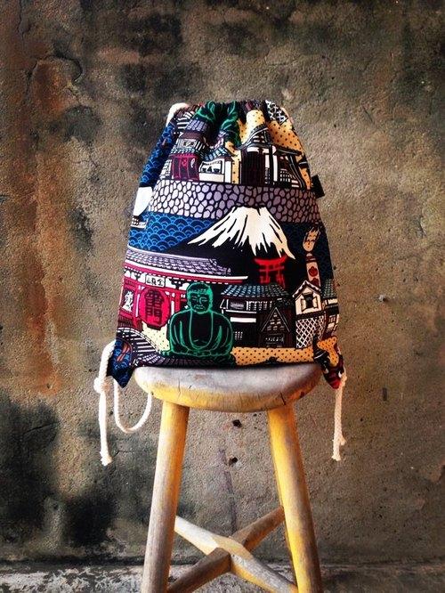 【束口包/後背包/束口袋-富士山大篇幅日系元素】