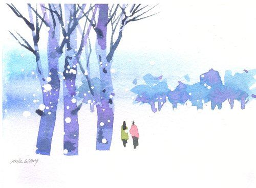 """""""疗愈系树林系列1-1""""水彩手绘限量版明信片/贺卡"""