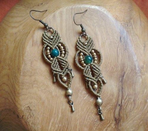 玛瑙黄铜南美蜡线手工编绳耳环