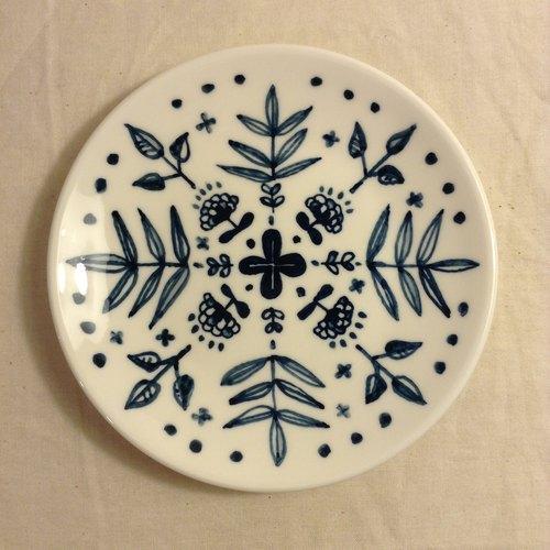 手绘瓷盘-青花